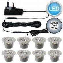 Set of 8 - 30mm Polycarbonate IP67 Cool White LED Plinth Decking Kit