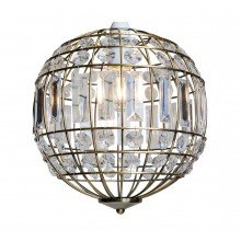 Antique Brass and Clear Crystal Globe Easy Fit Pendant Shade