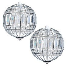 Pair of Polished Chrome and Clear Crystal Globe Easy Fit Pendant Shades