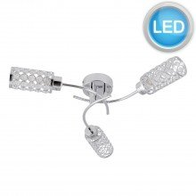 Chrome 3 Light Spiral Ceiling Fitting with Jewelled Glass Shades with LED Bulbs