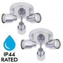 Pair of Chrome 3 Light IP44 Bathroom Round Spotlight Plates