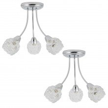 Set of 2 Chrome 3 Light Curved Arm Fittings with Clear Bubbled Glass