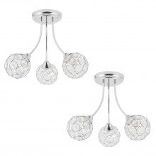 Set of 2 Chrome 3 Light Curved Arm Fittings with Clear Jewelled Acrylic
