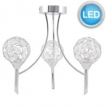 Chrome 3 Light Uplight Fitting with Clear Jewelled Acrylic with LED Bulbs