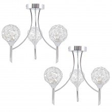 Set of 2 Chrome 3 Light Uplight Fittings with Clear Jewelled Acrylic