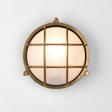 Astro Lighting - Thurso Round 1376001 (7880) - Coastal IP44 Natural Brass Wall Light
