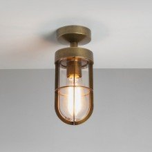 Astro Lighting - Cabin Semi Flush 1368002 (7558) - IP44 Antique Brass Wall Light