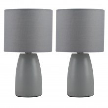Set of 2 Clive - Grey Ceramic 25cm Table Lamp / Bedside Lights with Matching Shades