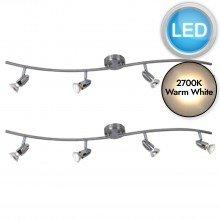 Set of 2 Brushed Chrome 4 Bar Spotlights with LED Bulbs