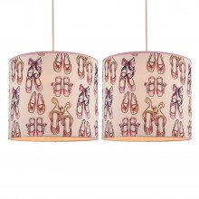 Set of 2 Pink Ballerina Ceiling Light Shades