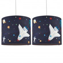 Set of 2 Space Rocket Ceiling Light Shades