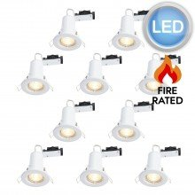 10 x White Fire Rated Fixed LED Downlights