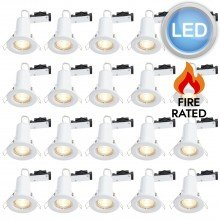 20 x White Fire Rated Fixed LED Downlights