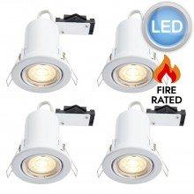 4 x Gloss White Fire Rated Tilt LED Downlights