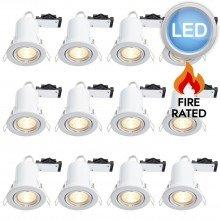 12 x Gloss White Fire Rated Tilt LED Downlights