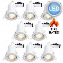 8 x Gloss White Fire Rated Tilt LED Downlights