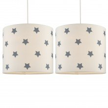 Set of 2 White with Grey Stars Light Shades