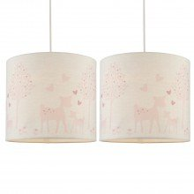 Set of 2 Pink Deer Ceiling Light Shades