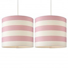 Set of 2 Pink & White Striped Light Shades