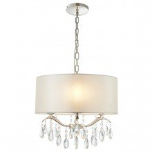 Jewelia Ivory Faux Silk Ceiling Pendant Light