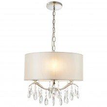 Jewelia Ivory Faux Silk Ceiling Pendant Light