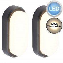 Set of 2 Black Oval LED Outdoor Lights