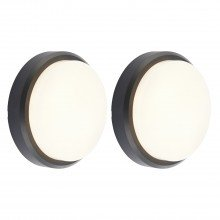 Set of 2 Black Round LED Outdoor Lights