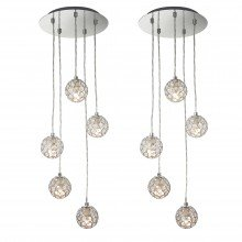 Set of 2 Chrome 5 Light Cluster Ceiling Pendant with Jewelled Shades