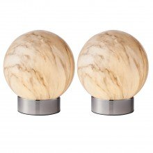 Set of 2 Marble Effect Globe Table Lamps