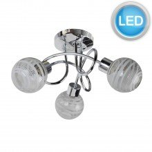 Polished Chrome 3 Way Flush With Striped Glass Shades with LED Bulbs