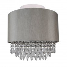 Large 350mm Silver Flush Shade with Silver Inner and Clear Droplets
