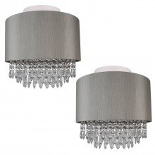 Set of 2 Large 350mm Silver Flush Shade with Silver Inner and Clear Droplets