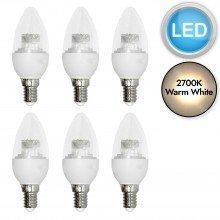 Set of 6 x 3.3W LED E14 Candle Light Bulbs