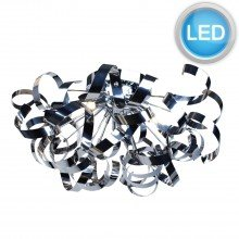 Chrome Swirl Ribbon Dome Ceiling Fitting with LED Bulbs