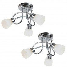 Pair of Chrome and Opal Glass 3 Light Ceiling Fittings