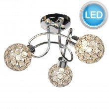 Chrome 3 Light Ceiling Fitting with Jewelled Shades with LED Bulbs