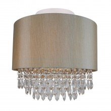 Large 350mm Soft Gold Ceiling Flush Shade with Matching Inner and Clear Droplets