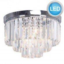 Modern Chrome & Crystal 3 Tier Flush Chandelier with LED Bulbs
