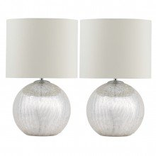 Pair of Cortez Chrome Crackle Glass Table Lamps with Cream Shades