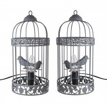 Pair of Grey Birdcage Table Lamp / Bedside Lights