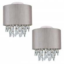 Set of 2 Silver Grey 250mm Ceiling Flush Shade with Silver Inner and Clear Droplets