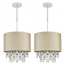 Set of 2 Pale Gold 250mm Ceiling Adjustable Flush Shade with Matching Inner and Clear Droplets