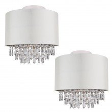 Set of 2 300mm Cream Faux Silk Ceiling Flush Shade with Chrome Inner and Clear Droplets