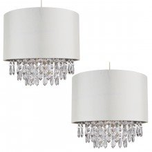 Set of 2 300mm Cream Faux Silk Easy Fit Shade with Chrome Inner and Clear Droplets