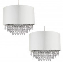 Pair of 400mm Cream Faux Silk Easy Fit Shade with Chrome Inner and Clear Dropletss