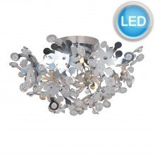 Chrome Semi Flush 3 x G9 Flower Fitting with LED Bulbs