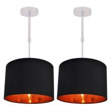 Set of 2 Black Faux Silk 30cm Drum Light Ceiling Adjustable Flush Shade with Copper Inner