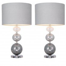 Pair of Sava - Smoke Ombre Three Ball Glass 53cm Lamps with Grey Linen Shades