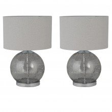 Pair of Howe - Crackle Glass 41cm Lamps with Grey Linen Shades