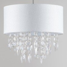 Large 40cm Easy Fit Shade Textured White Silver Fleck Acrylic Droplets